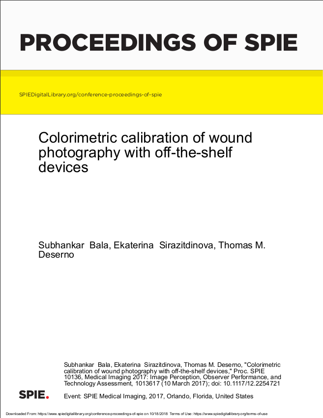 Colorimetric calibration of wound photography with off-the-shelf devices