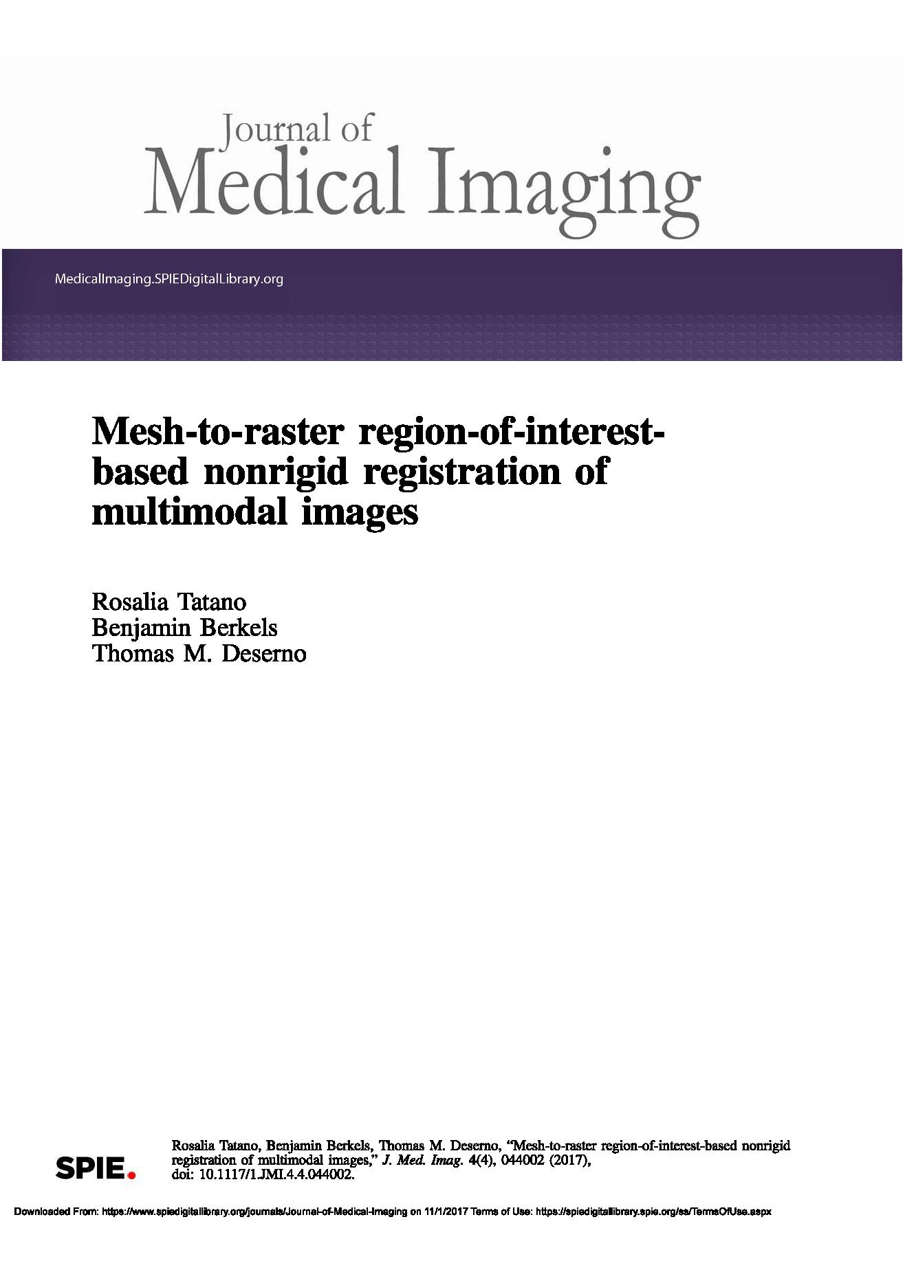 Mesh-to-raster region-of-interest-based nonrigid registration of multimodal images