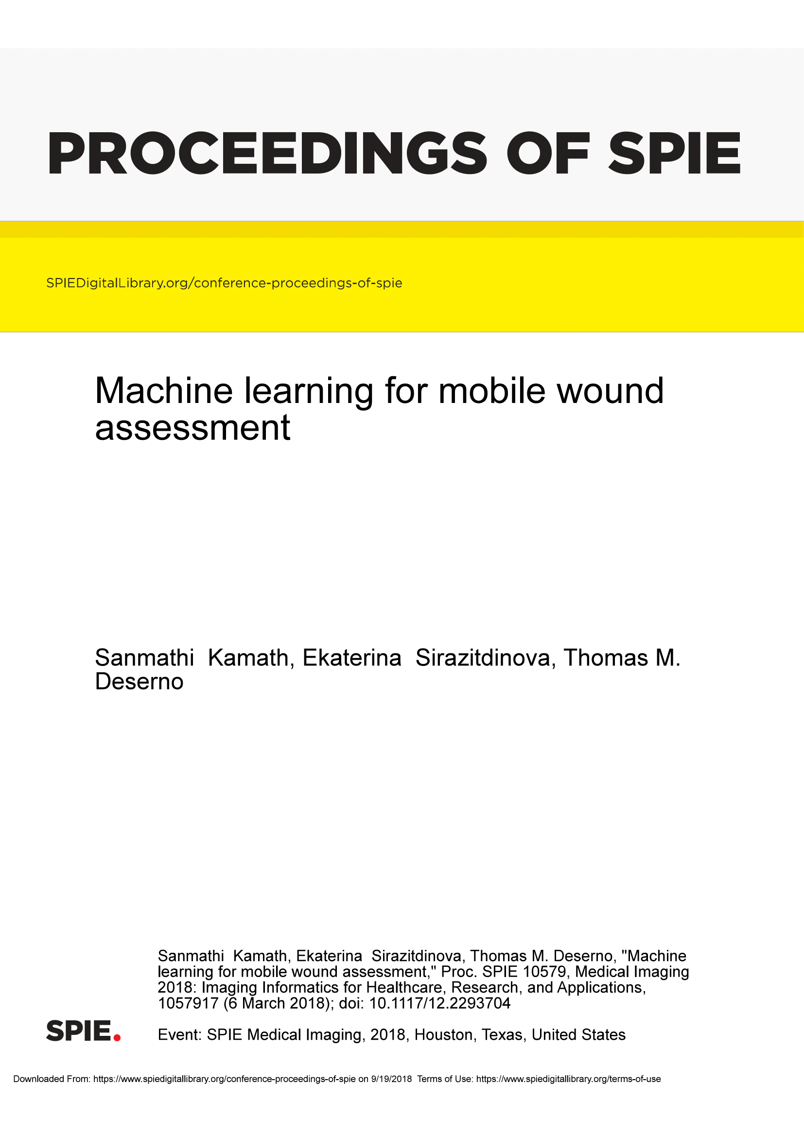 Machine learning for mobile wound assessment