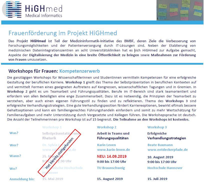 HiGHmed-Workshop zur Frauenförderung - Terminänderung!