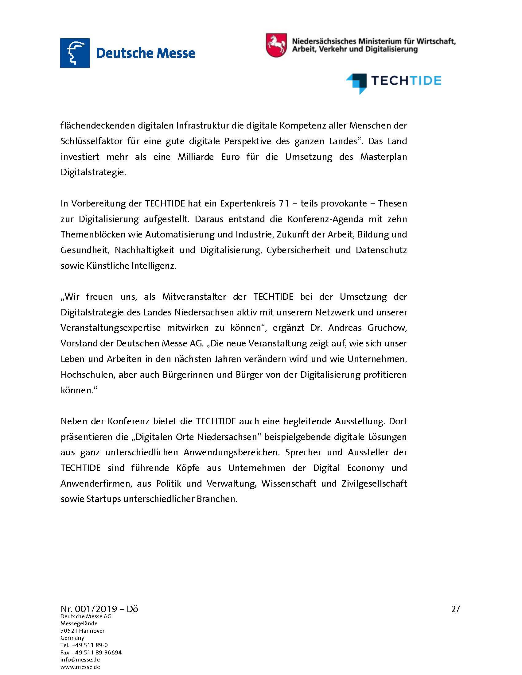 Einladung zur TECHTIDE 2019 - Pressemitteilung