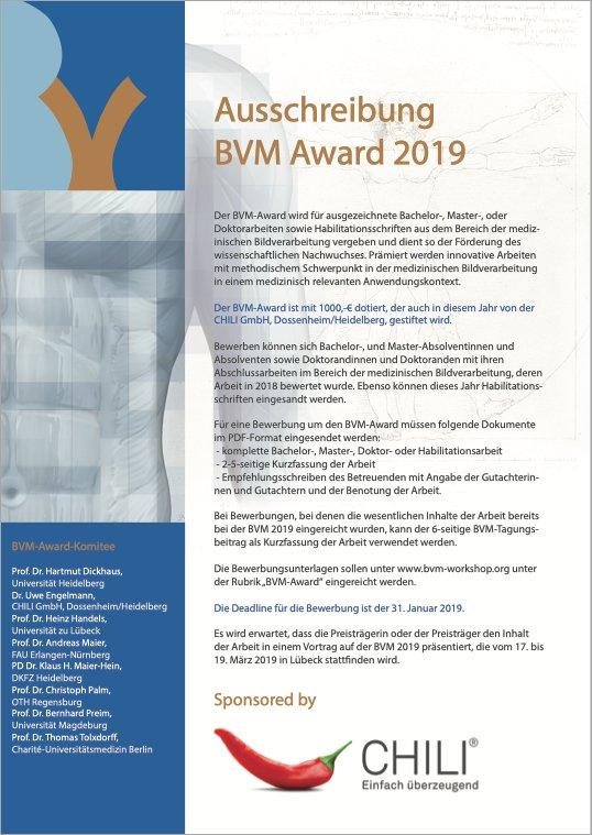 Ausschreibung BVM Award 2020